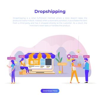 オンラインの買物客やeコマースのドロップシッピングの平らな設計図