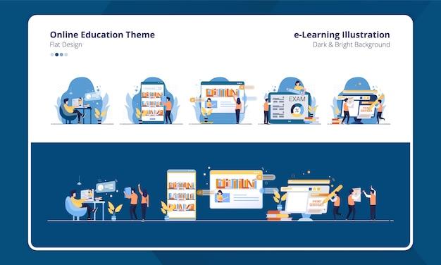 Eラーニングのイラストやオンライン教育をテーマにしたコレクションフラットデザインのセット