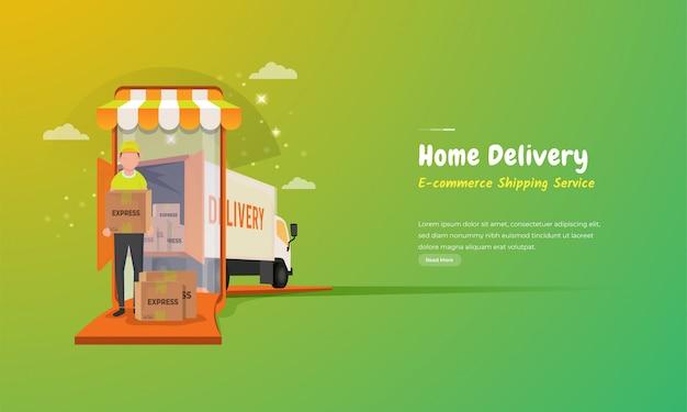 Eコマース配送サービス、宅配便発送のイラスト