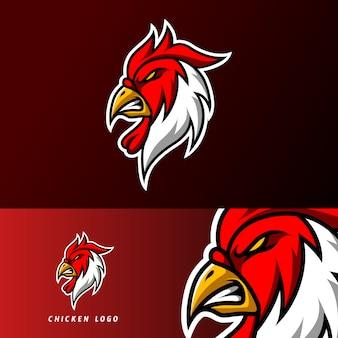 分隊チームクラブの赤鶏ロースターマスコットスポーツゲームeスポーツのロゴのテンプレート