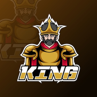 怒っているキングスポーツeスポーツロゴテンプレートゴールド戦争制服