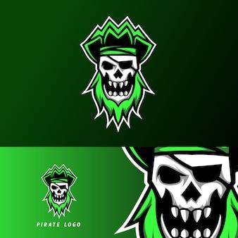 反逆者海賊スポーツeスポーツのロゴのテンプレートデザインスカルヘッドバンド