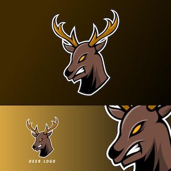長い角を持つ怒っている鹿スポーツゲームeスポーツのロゴのテンプレート