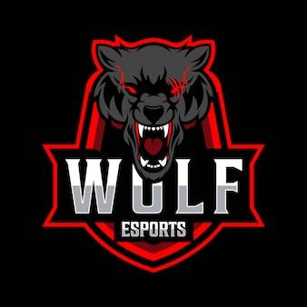 オオカミeスポーツのロゴのテンプレート