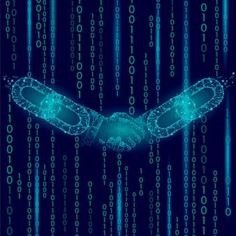 ハンドシェイク低ポリ、ブロックチェーンインターネットテクノロジーeコマースビジネス