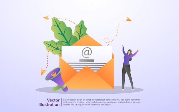 メールマーケティングの概念。電子メール広告キャンペーン、eマーケティング、電子メールでターゲットオーディエンスにリーチします。