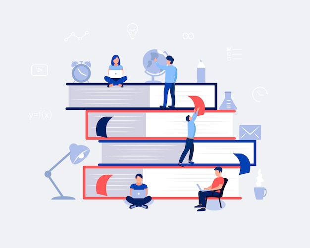 Eラーニング、オンライン教育デザインコンセプト。
