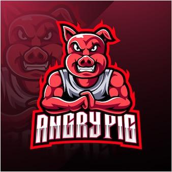 怒っている豚のeスポーツマスコットロゴ