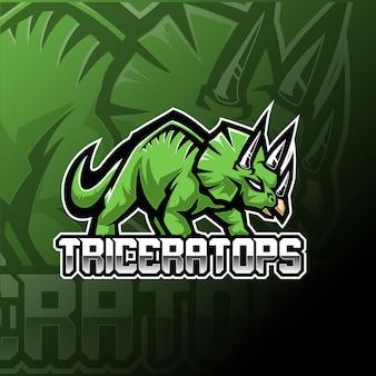 トリケラトプスeスポーツマスコットのロゴのテンプレート