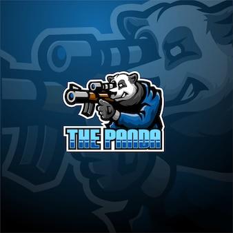 パンダのスナイパーeスポーツマスコットのロゴのテンプレート