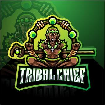 部族のチーフeスポーツマスコットのロゴのテンプレート