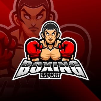 ボクシングeスポーツマスコットロゴデザイン