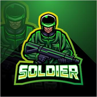 兵士のマスコットeスポーツゲーミングロゴ