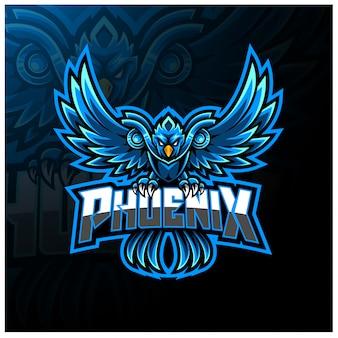 青いフェニックスeスポーツマスコットロゴ