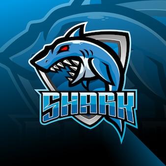サメのeスポーツマスコットロゴデザイン