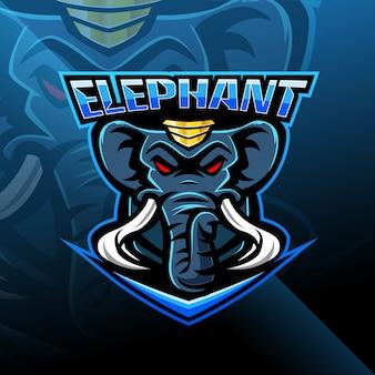 象のeスポーツマスコットロゴデザイン