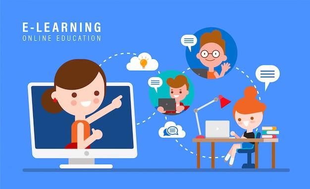 Eラーニングのオンライン教育の概念図。コンピューターのモニターのオンライン教師。インターネット経由で自宅で勉強している子供たち。フラットなデザインスタイルで漫画します。