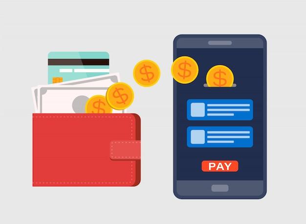 Eウォレット、デジタル通貨の概念。モバイルはスマートフォンで補充します。フラットなデザインスタイルのイラスト。