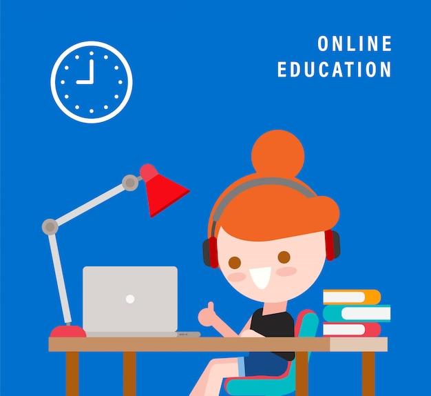 オンライン学習。遠隔教育のためのeラーニングの概念。彼女の机の上のラップトップを持つ少女の笑顔。フラットなデザインスタイルのイラストのベクトル漫画のキャラクター。
