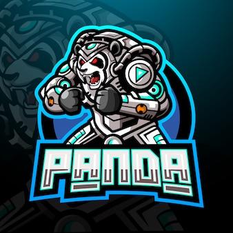 パンダサイバーeスポーツのロゴのマスコットデザイン。