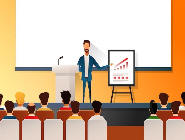 マーケティング、販売、eコマースに関するプレゼンテーションや専門的なトレーニングを行うビジネスセミナーのスピーカー。プレゼンテーション会議とビジネスの聴衆のための動機の平らなイラスト。