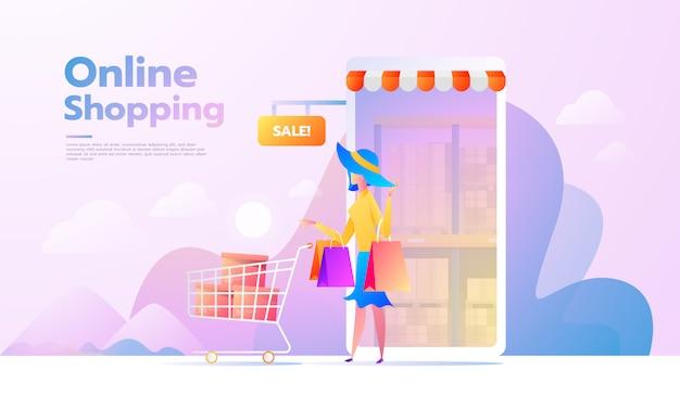Eコマースの購入者がいるランディングページ。インターネットアイテム若い女性がオンラインショッピング。ベクトルイラスト人と交流する