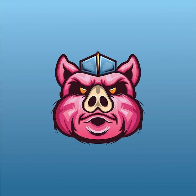 Eスポーツのロゴのベクトルの豚の頭