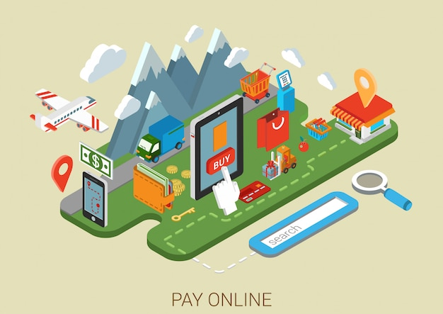 オンラインインターネットショッピングプロセスeコマースコンセプト等尺性。タブレット決済端末の配送商品のストアで指を押す購入ボタン。