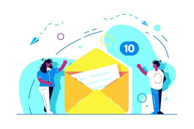 メッセージのコンセプトを送信します。 eメール。メールサービス。マーケティングとしての電子メールの概念。ウェブメールまたはモバイルサービス