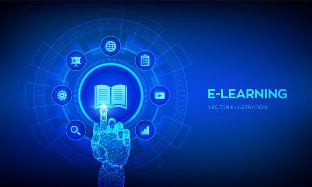Eラーニング。革新的なオンライン教育とインターネット技術。デジタルインターフェイスに触れるロボットの手。