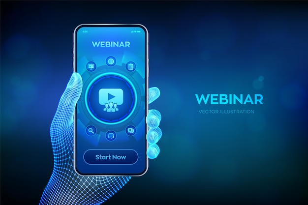 ウェブセミナー。インターネット会議。仮想画面上のeラーニングトレーニングビジネス技術コンセプト。ワイヤーフレームの手でスマートフォンをクローズアップ。