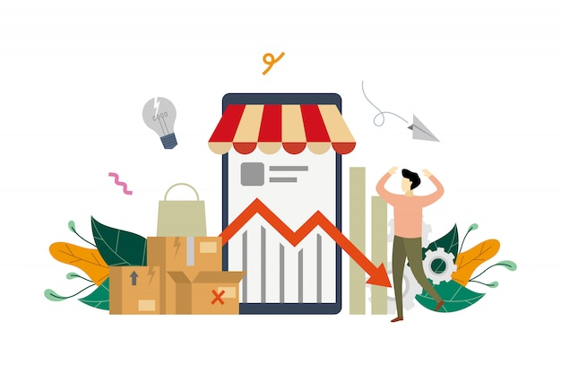 Eマーケティングの収入危機の概念図