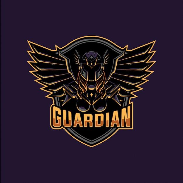 守護天使の戦士のマスコットとeスポーツのロゴ