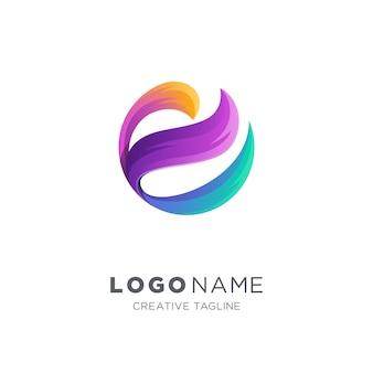 抽象文字eベクトルのロゴ