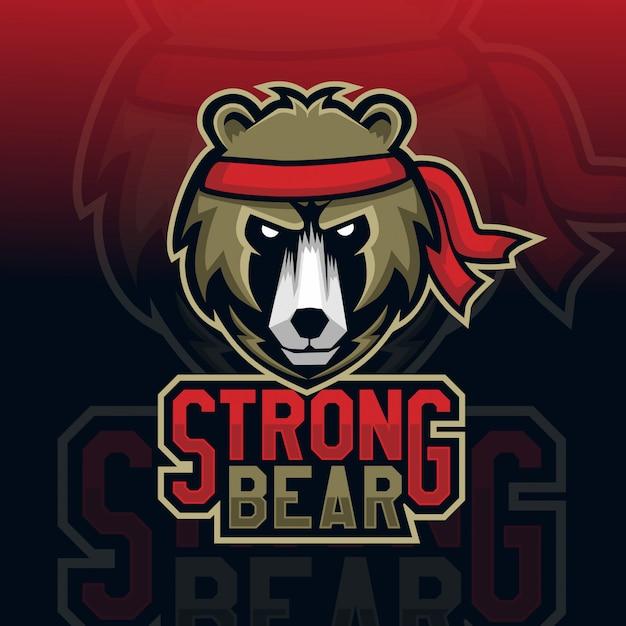 クマの頭のマスコットeスポーツのロゴ