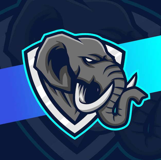 象のマスコットeスポーツのロゴデザイン
