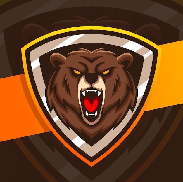 クマのマスコットeスポーツのロゴデザイン
