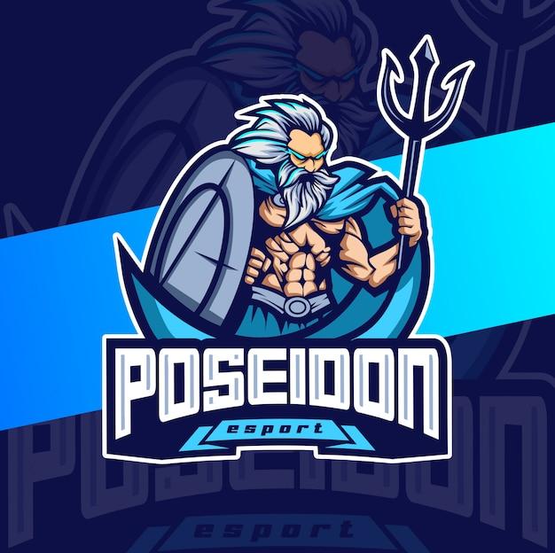 ポセイドンマスコットeスポーツのロゴデザイン