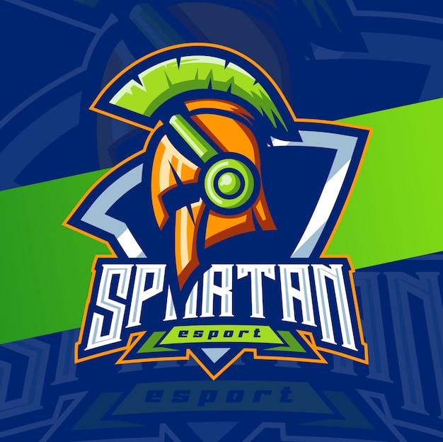 スパルタゲーマーヘルメットマスコットeスポーツロゴデザイン