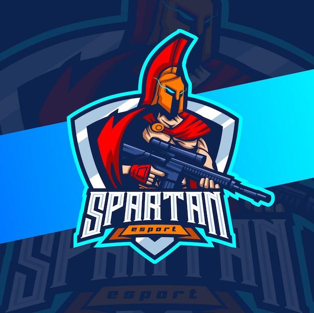 銃のマスコットのeスポーツのロゴデザインとスパルタン