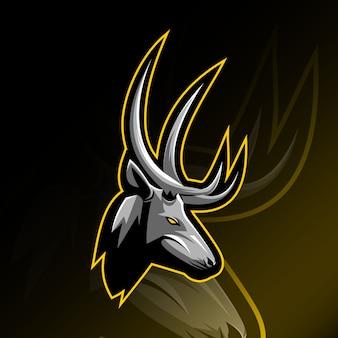 頭の鹿のマスコットロゴeスポーツデザイン