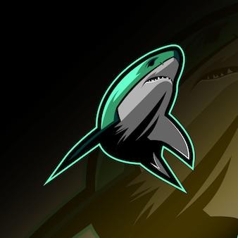 サメマスコットロゴeスポーツデザイン