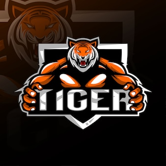 タイガー怒っているマスコットロゴeスポーツ
