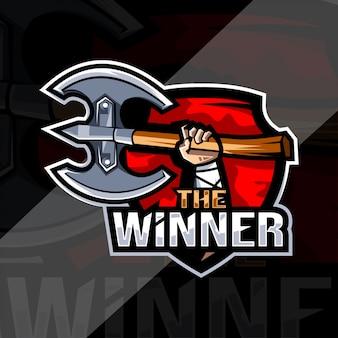 勝者のマスコットロゴeスポーツデザイン