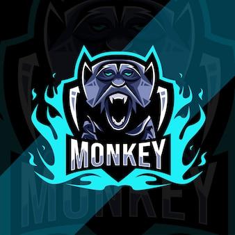 かわいい猿のマスコットロゴeスポーツテンプレート