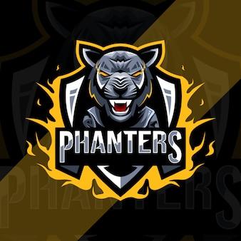 かわいい黒豹のマスコットロゴeスポーツテンプレート