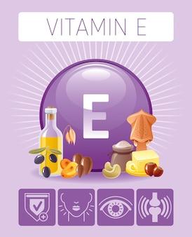 人間の利益を持つビタミンeトコフェロール栄養食品アイコン。健康的な食事のフラットアイコンセット。ダイエットインフォグラフィックグラフポスター、バター、オリーブオイル、イカ、ナッツ。
