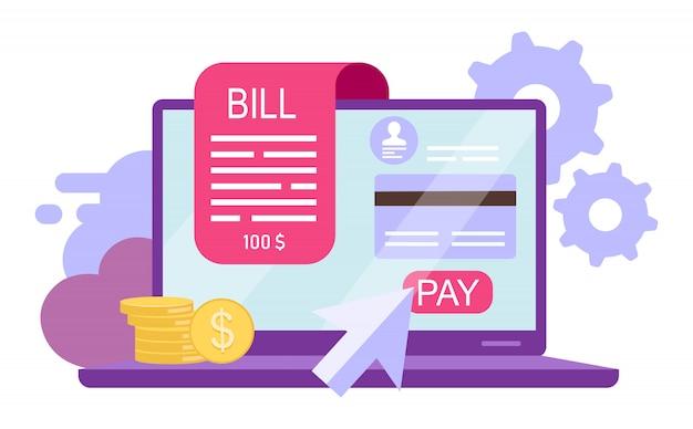 ビルはフラットの図を支払います。オンライン決済、インスタントクレジットカード取引は、白い背景の上の漫画の概念を分離しました。オンライン領収書、請求書。銀行サービス。返済、eウォレットアカウント