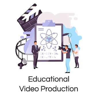 教育ビデオ制作フラットコンセプトアイコン。チュートリアル、科学講義シューティングステッカー、クリップアート。 eラーニング、ビデオストリーミング、ブログ。白い背景の上の孤立した漫画イラスト