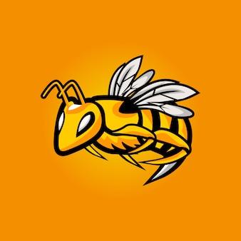 怒っている蜂eスポーツマスコットロゴデザイン